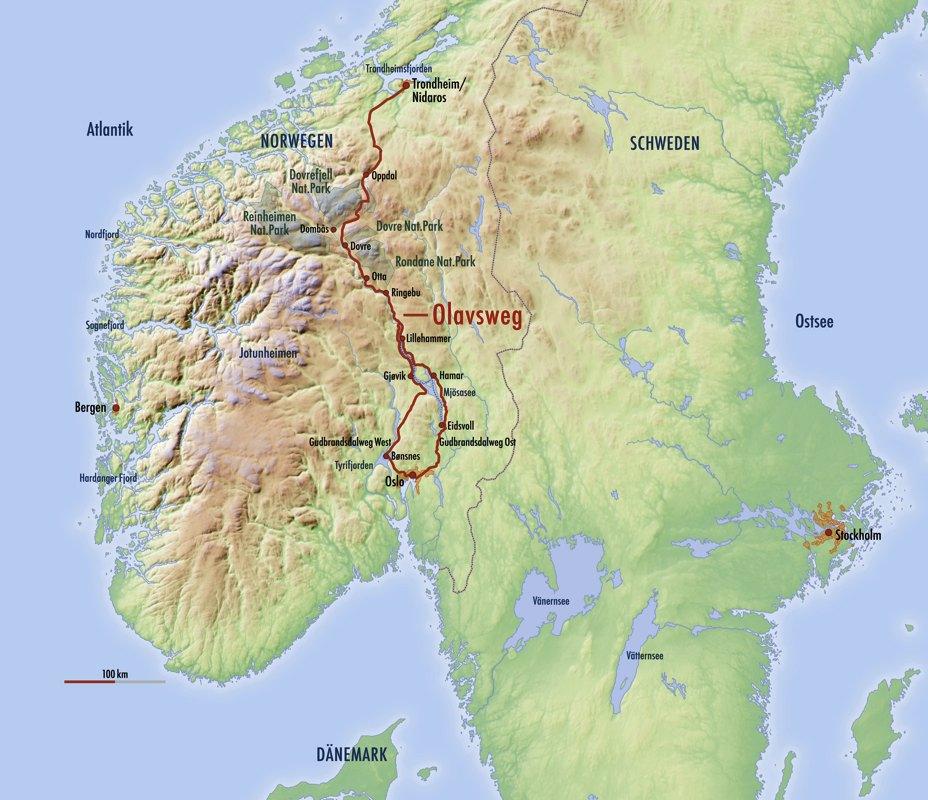 Karte vom Olavsweg